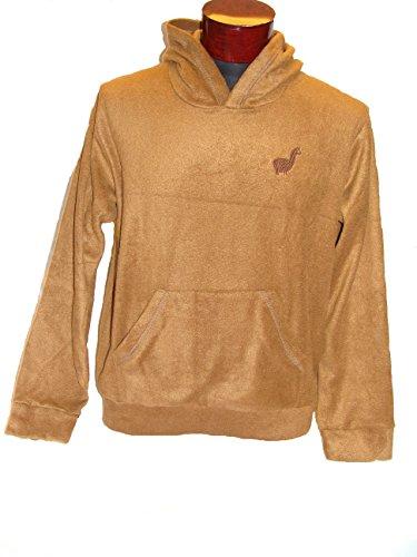- Baja Woven Eco-Friendly Jacket Coat Hoodie Alpaca Blend Natural Camel Pullover Large