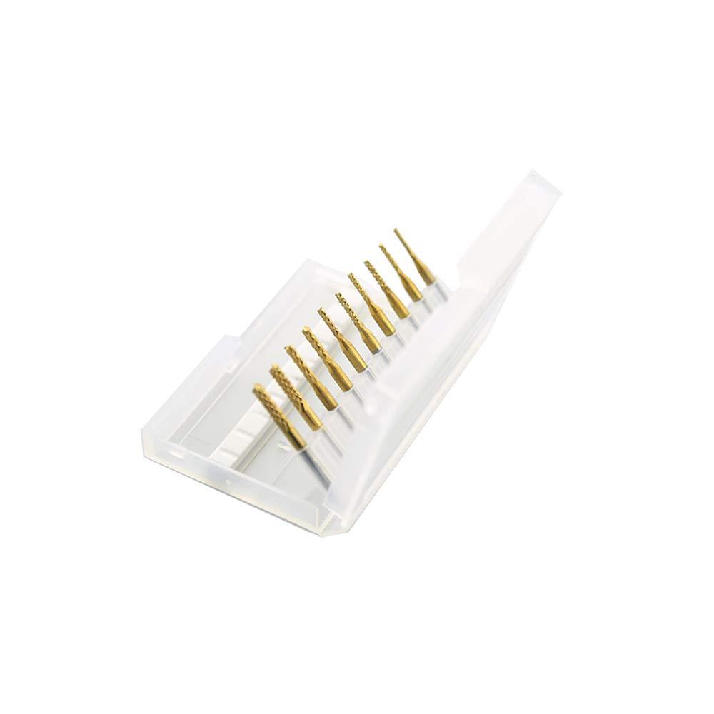 ST1.5-3.175mm-10Ti SHINA 10 Titanium Coat Carbide 1.5mm-3.175mm End Mill Engraving Bits CNC Rotary Burrs Set