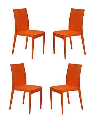 Varmora Designer Club Heavy Plastic Chair (Model 131) (Orange)(4)
