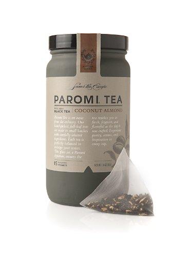 Paromi Tea Coconut Almond Tea Full-Leaf, 15 Tea Bags, Organic Caffeinated Black Tea with Organic Coconut Pieces and Organic Almond, Enjoy Hot or Iced ()