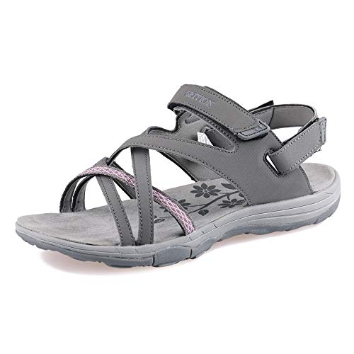 GRITION Hiking Sandals Women Comfort Sport Sandals with Open Toe, Waterproof Athletic Outdoor Sandals Water Shoes Flat for Sport Trail Golf Summer Beach Grey