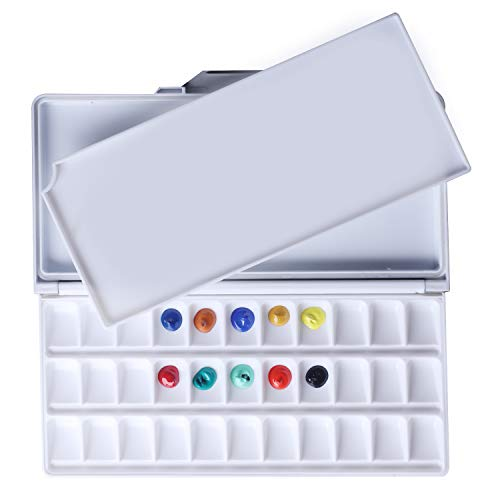 MEEDEN Airtight Leakproof Watercolor Palette Travel Paint Tray with A Large Mixing Areas, 33 Wells Black Folding Peel-Off Palette for Watercolor, Gouache, Acrylic Paint