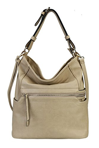 Rimen & Co. PU Leather Simpilicity Front Zipper Causal Hobo Womens Purse Handbag JQ-1864 (Light Khaki) (Leather Silverstone)