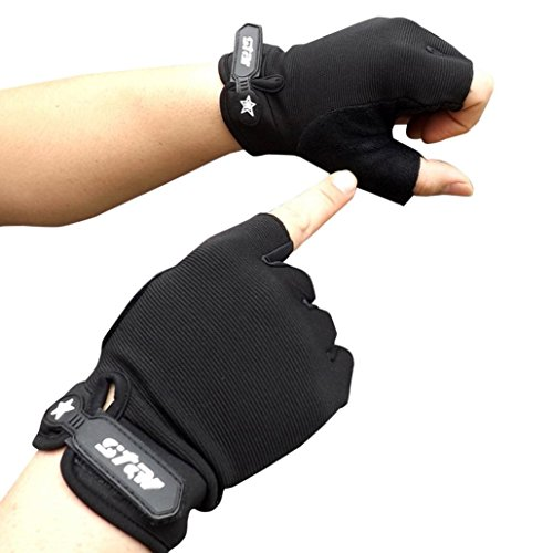 Sports Fingerless Gloves, Lowprofile Men Antiskid Half Finger Gloves Cycling Bike Workout Gym Fitness Gloves (Black, Asian L)