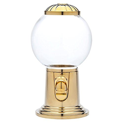 Godinger 9- Inch Refillable Glass Globe Gumball Machine and Candy Dispenser Antique Style - Gold Color