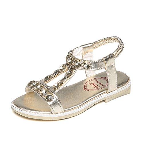 YIBLBOX Kids Little Girls Gladiator Princess T-Strap Sandals with Rhinestone