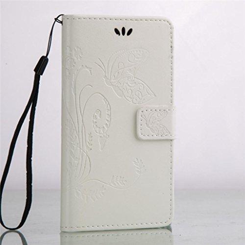 Erdong® Magnético Folio Flip Caso Con pata de cabra titular de la tarjeta Para Huawei Y5 II & Y5 2 5.0, Elegant Simple Book-style [Blanco flor de mariposa] patrón de impresión cuero del soporte Folio