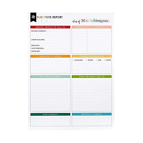 Erin Condren Substitute Teacher Notepad - 25 Sheets, 7.5