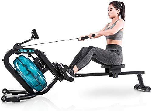 Merax Water Rowing Machine Fitness Indoor Water Rower with LCD Monitor Home Gym Equipment