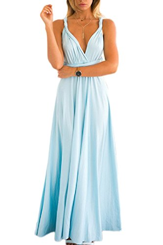 Dazosue Vestido Mujeres Verano M Venda Slit Maxi Azul Las Elegantes Vestidos De Correas 1Zx1rz