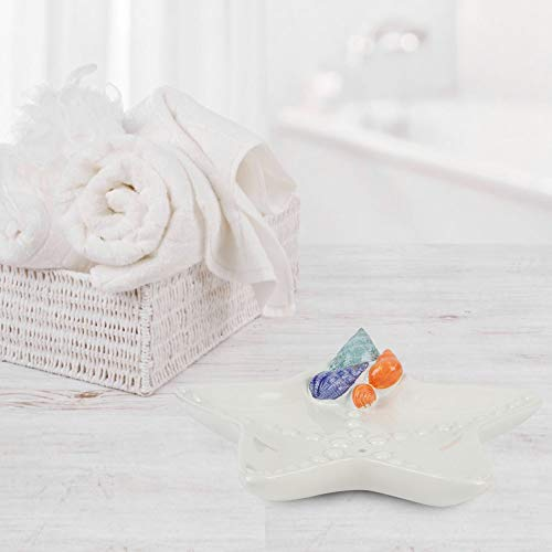 Oumefar Shell-Shape Resin Soap Dish Holder Wearable Soap Box Bathtub Decor for Sink(White, Starfish)