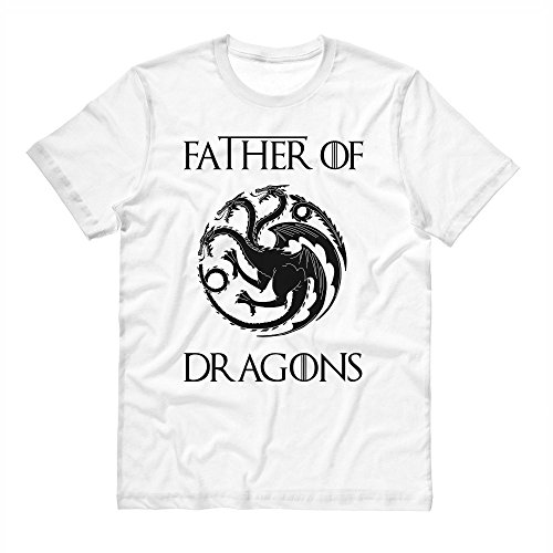 (Father of Dragons Geeky Father's Day Shirt Unisex X-Large White)