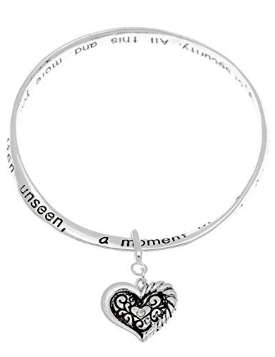 Grandma grandmother poem poet mobius filigree heart charm bangle bracelet engraved what you have given me