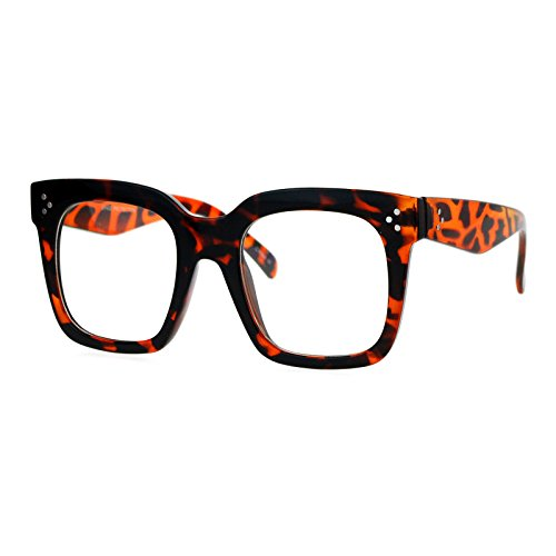 Super Oversized Clear Lens Glasses Thick Square Frame Fashion Eyeglasses - Eyeglasses Frames Tortoise