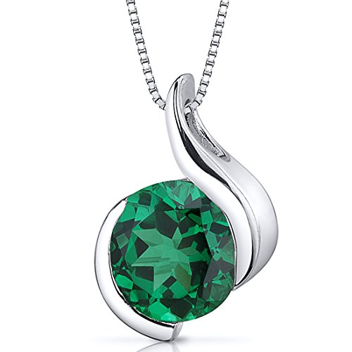 1.75 carats Round Shape Sterling Silver Rhodium Nickel Finish Simulated Emerald Pendant
