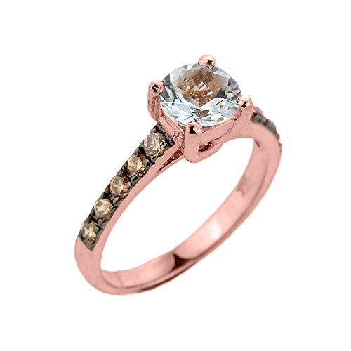 Pink Champagne Diamonds (10k Rose Gold Champagne Diamond Band Aquamarine Wedding Engagement Ring, Size 7)