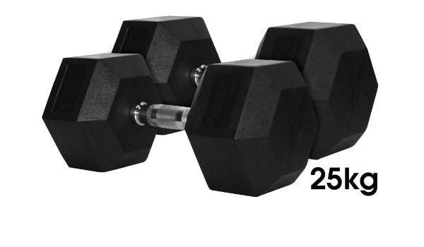 TuffTech - Mancuernas (25 kg, pesas hexagonales de caucho, 2 unidades): Amazon.es: Deportes y aire libre