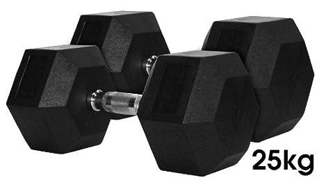TuffTech - Mancuernas (25 kg, pesas hexagonales de caucho, 2 ...