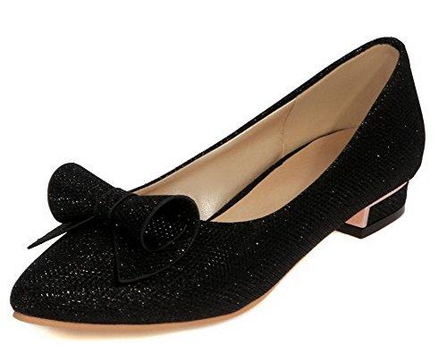 AllhqFashion Womens Pointed-Toe Low-Heels Pull-On Solid Pumps-Shoes Black p1u0y