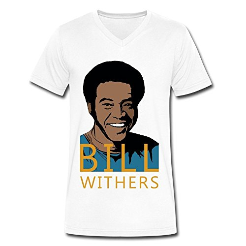 Men V-Neck Short Sleeve Bill Withers Tee Shirts XL White