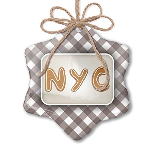 NEONBLOND Christmas Ornament NYC Christmas Cookie Grey White Black Plaid (Best Nyc Black And White Cookies)