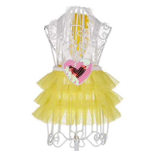 (Jim-Hugh Dog Princess Wedding Dresses Love Heart Pattern Skirt Costumes Skirt for Small Medium Dogs Chihuahua)