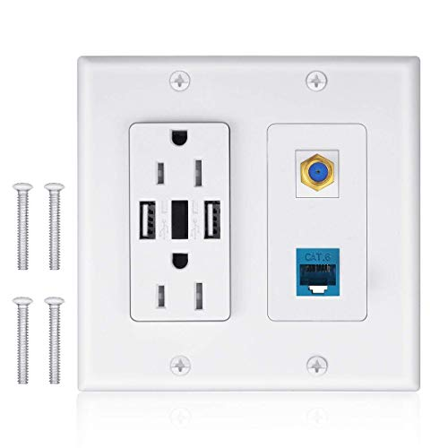 - 2 Power Outlet 15A with Dual 2.4A USB Charger Port Wall Plate with LED Lighting, IQIAN 1 CAT6 RJ45 Ethernet + Coaxial Cable TV F Type Keystone Face Plate White