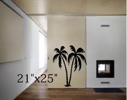 PALM TREE TWO PALM TREES VINYL WALL DECAL MURAL STICKER L...
