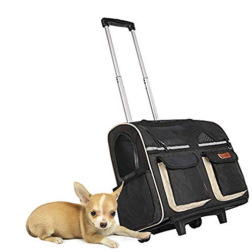 HEELE Pet Carrier Backpack Large Pets Trolley Carrier Dog Stroller Pet Carrier Travel Pet Bag Strollers(Pets up to 40 Pounds) Ventilated Design