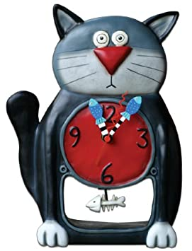 Allen Designs Black Kitty Pendulum Clock