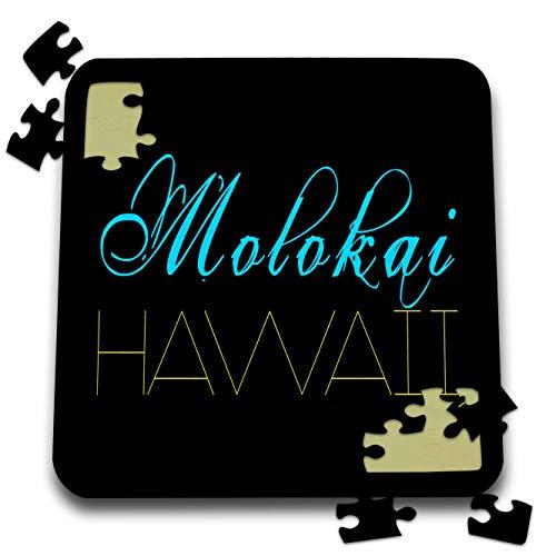 3dRose Alexis Design - American Beaches - Molokai, Hawaii. Decorative Text. Blue, Yellow on Black Background - 10x10 Inch Puzzle (pzl_287405_2) (Best Beaches On Molokai)