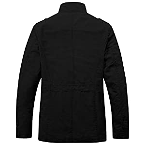 Wantdo Men's Stand Collar Cotton Classic Jacket US Large Black