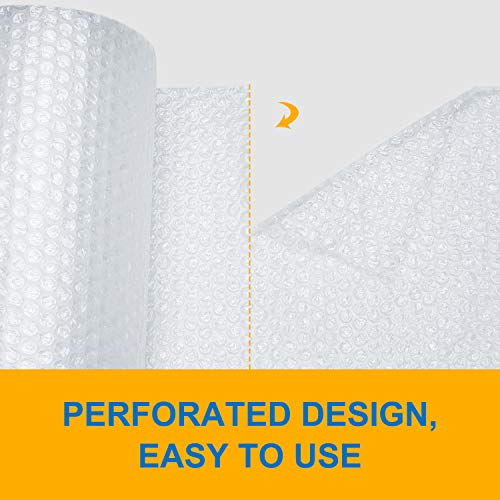 Bubble Cushioning Wrap Roll 2 Pack 3//16 Air Bubble 12 Inch x 74 Feet Total Perforated Every 12 Inch with 30pcs Fragile Stickers Packing Supplies for Heavy-Duty Moving Shipping