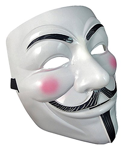 Maze White & Black Plastic Mysterious Mustache Man Cosplay Full Face Mask, 1- One Size