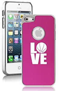 Apple iPhone 5 5S Hot Pink 5E1459 Aluminum Plated Chrome Hard Back Case Cover Love Basketball