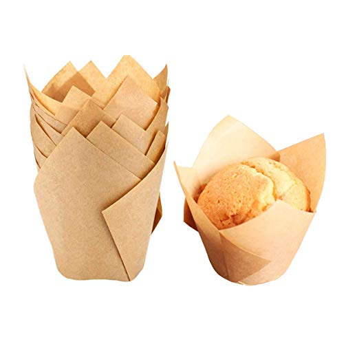 Tulip Cupcake Liner Baking Supplies Muffin Pan Liners Baking Gifts for Baby Shower Birthday Wedding Party Supplies (Natural) Pack of 50