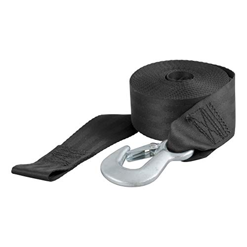 CURT 29007 2-Inch x 20-Foot Nylon Winch Strap with Hook, 4,000 lbs.