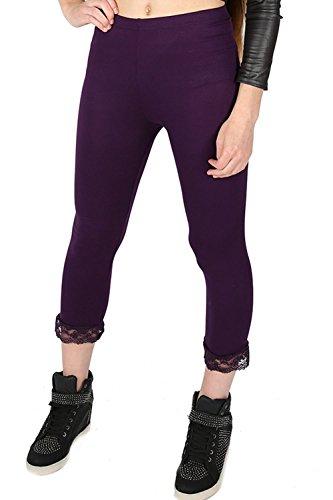 Oops Outlet Femmes 3/4 Longueur Détail Dentelle Bords Court élastique Bas De Jogging Jogging Gym exercice Leggings Jeggings Grande Taille ROYAUME-UNI 8-26 - Pourpre, Grande Taille (EU 52/54)