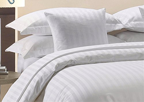 Precious Star Linen Hotel Quality 1000TC Zipper Closer 3pc Duvet Cover Set With Corner Ties, Egyptian Cotton Expedited Shipping, (Silver Grey Striped, Super King (98 x 108 Inch)) from Precious Star Linen