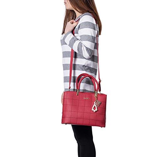 PU Ladies Leather Black2 Handle Women Tote for Burgundy Shoulder Clutch Designer Bags Bags Top Handbags dppZrR