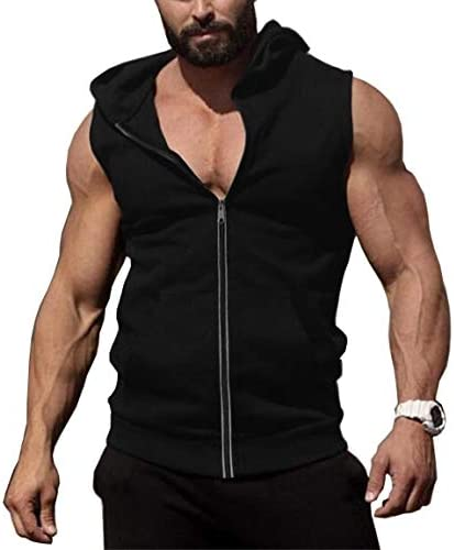 COOFANDY Men's Zip Up Workout Tank Tops Hooded Bodybuilding Fitness Muscle Cut T Shirt Sleeveless Gym Hoodies