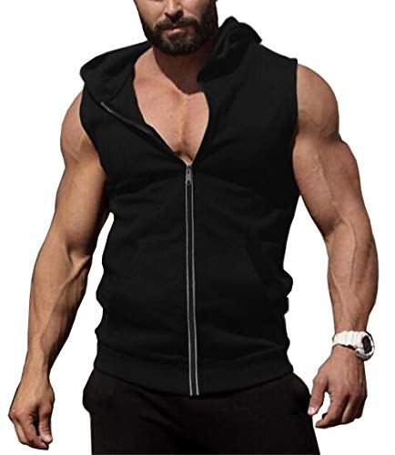 - COOFANDY Men's Zip Up Workout Tank Tops Hooded Bodybuilding Fitness Muscle Cut T Shirt Sleveless Gym Hoodies Solid Black