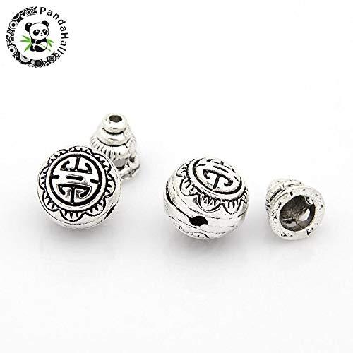 Calvas Tibetan Silver Guru Bead Sets, 3-Hole Round & Buddha Head Beads, Antique Silver, 10mm, Hole: 2mm; Calabash Bead: 7.5x7.5mm,