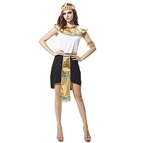 CBM Halloween Costumes for Women Egyptian Cleopatra Costume Queen of Egypt Adult Size Dress Free Size M/L -