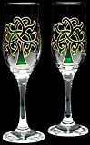 Celtic Glass Designs Set of 2 Hand Painted Champagne Flutes in a Green Celtic Tree of Life Design. Review