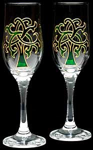 Celtic Glass Designs Set of 2 Hand Painted Champagne Flutes in a Green Celtic Tree of Life Design.