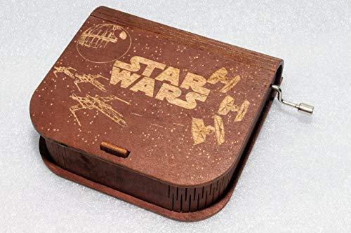 (Star Wars Music Box - Space Warfare Battle - Death Star Starfighters Darth Vader Anakin Skywalker - Wooden Music Box)