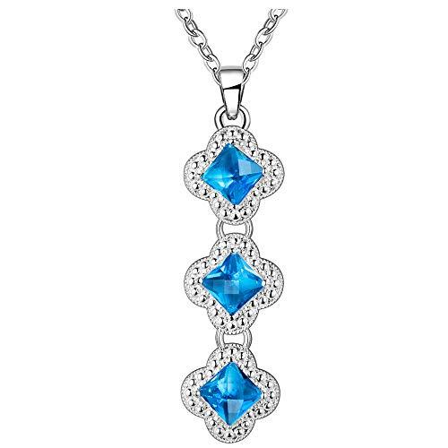 - Jewelryamintra Square Cut Titanice Ocean Blue Topaz Gemstone Solid Silver Necklace Pendant 2.2