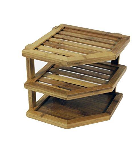 Kitchen Bamboo Storage Corner Rack, Knocbel Cabinet 3-Tiers
