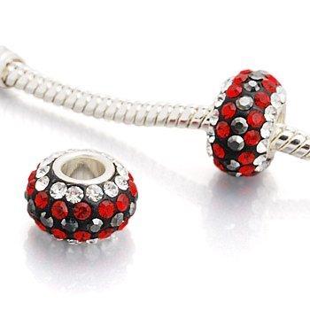 """Andante-Stones perle cristal Argent 925 Sterling original et massif """"Smokin red"""" Élément bille pour perles European Beads + Étui en organza"""